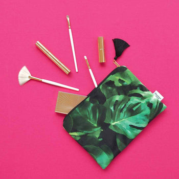 Monstera Leaf Velvet Pouch