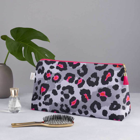 Grey Leopard Print 'Big Trip' Wash Bag