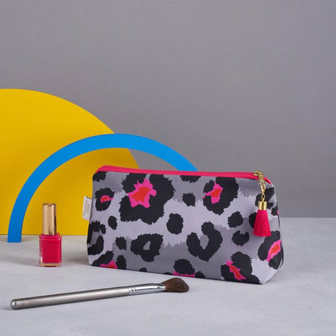 Grey Leopard Print Makeup Bag