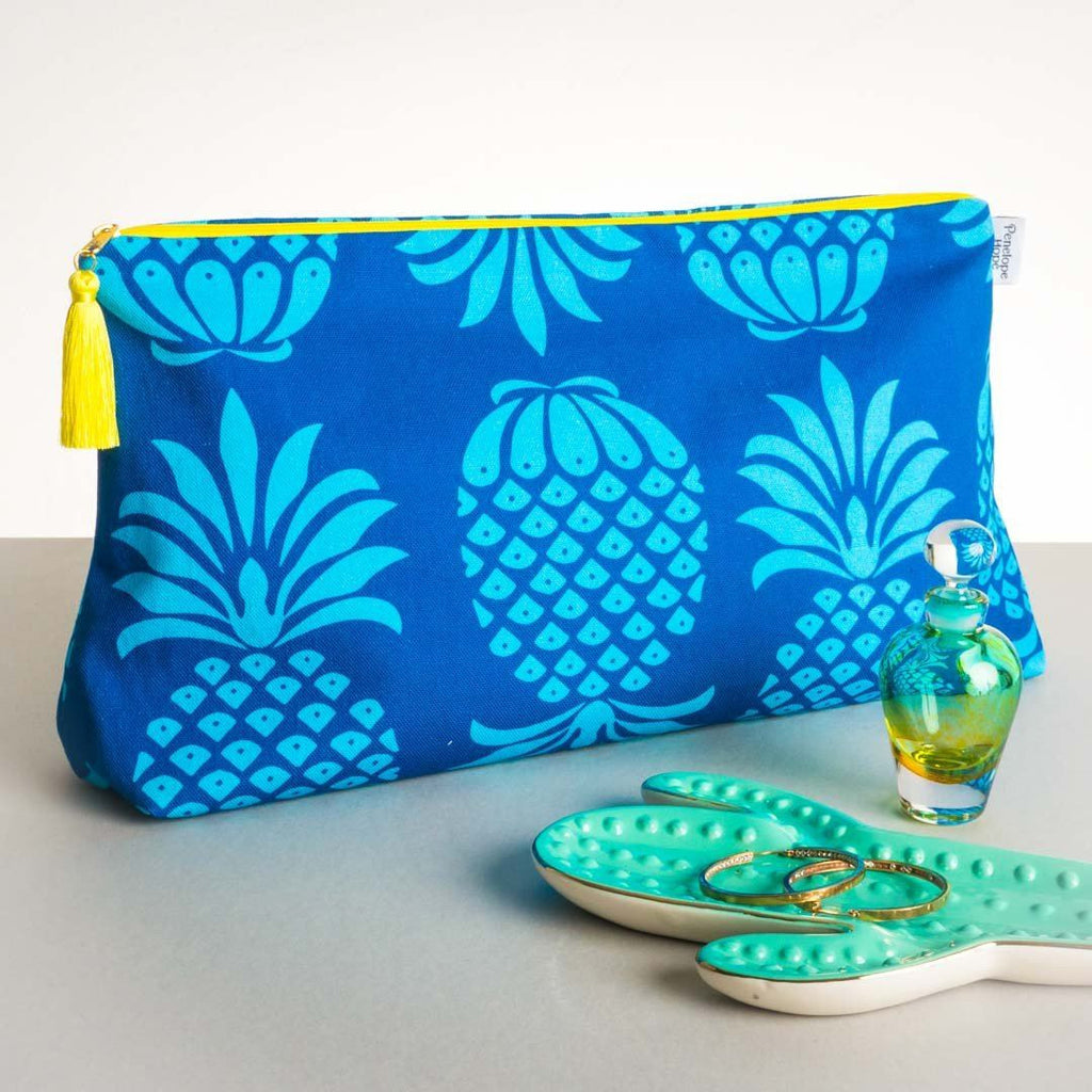 Pineapple Blue Mix Wash Bag by Penelope Hope