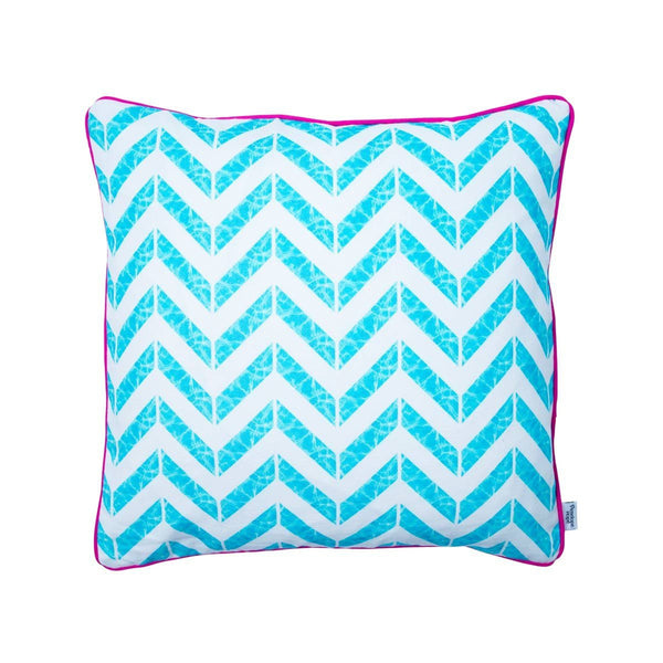 Swimming pool reflection chevron print cushion by Penelope Hope