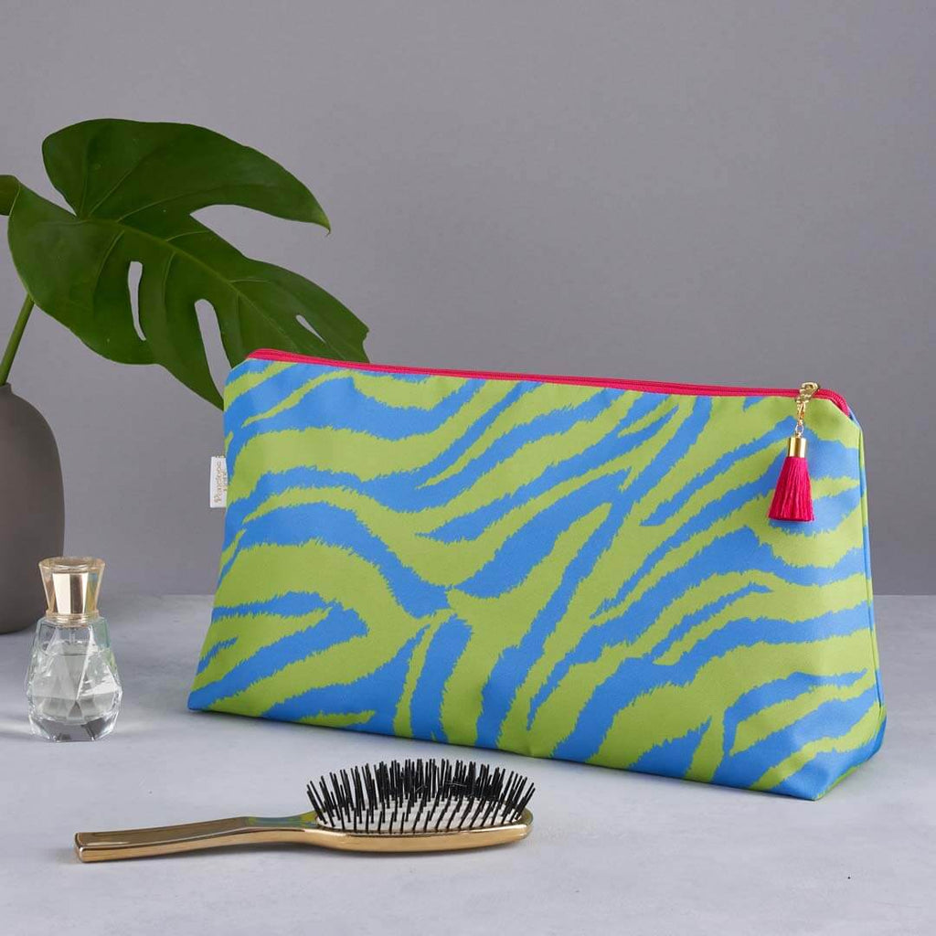 Lime/ Blue Zebra Print 'Big Trip' Wash Bag