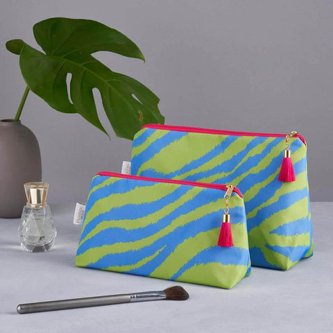 Lime/ Blue Zebra Print 'Weekend Away' Wash Bag