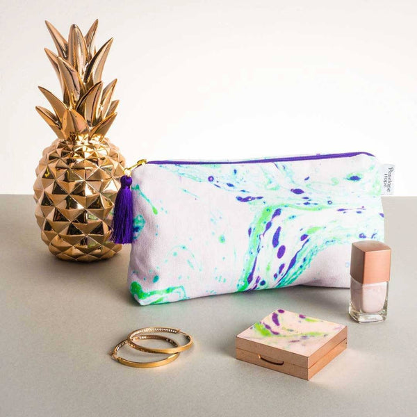 Neon Green Marble Makeup Bag by Penelope Hope