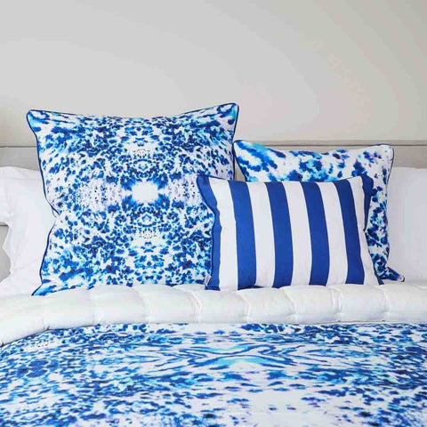 Mesmerise Watercolour Rectangular Cushion with blue stripe back | Penelope Hope