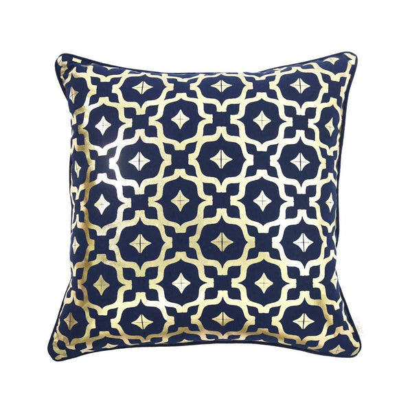 Wish Cushion- Cotton metallic cushion in indigo navy & gold with moroccan print | Penelope Hope