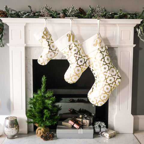 White & Gold Christmas Stockings by Penelope Hope