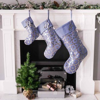 Steel Blue & Gunmetal Christmas Stocking by Penelope Hope