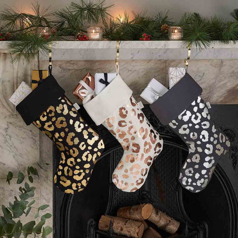 Metallic Leopard Print Christmas Stockings