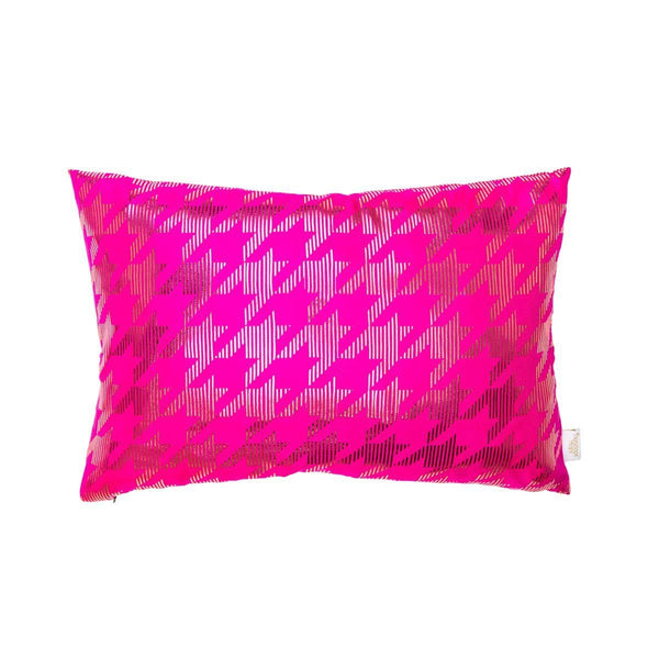 Lucky Cushion- Silk metallic rectangular cushion in Pink & Gold with Dogtooth Design to front | Penelope Hope