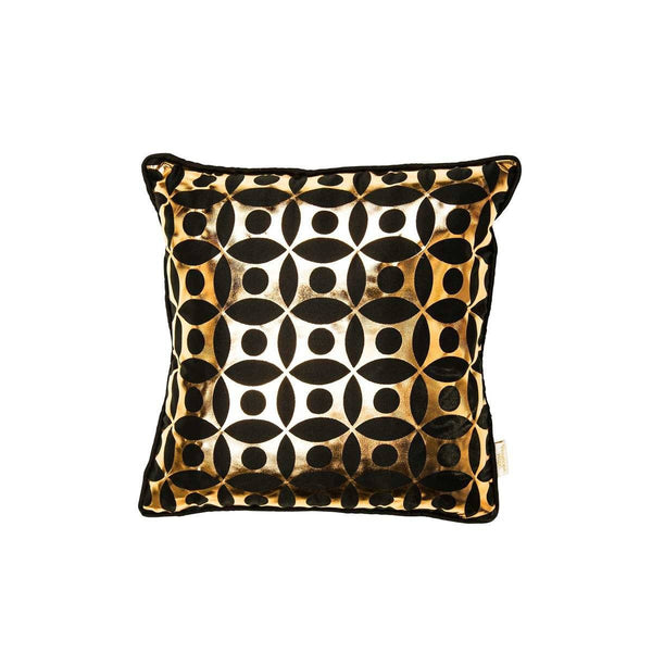 Covet Cushion- silk metallic cushion in black & copper with moroccan circle print (view of front) | Penelope Hope