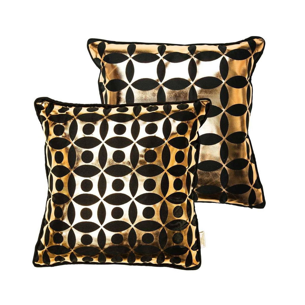 Covet Cushion- Silk metallic cushion in black & copper with moroccan circle print | Penelope Hope