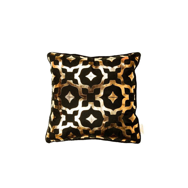 Mini Wish Cushion- Silk metallic cushion in black & copper with moroccan print | Penelope Hope