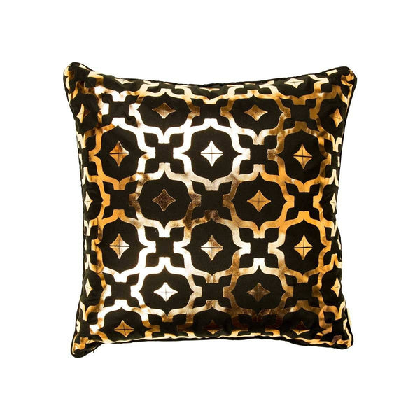 Wish Cushion- Silk metallic cushion in black & copper with moroccan print | Penelope Hope