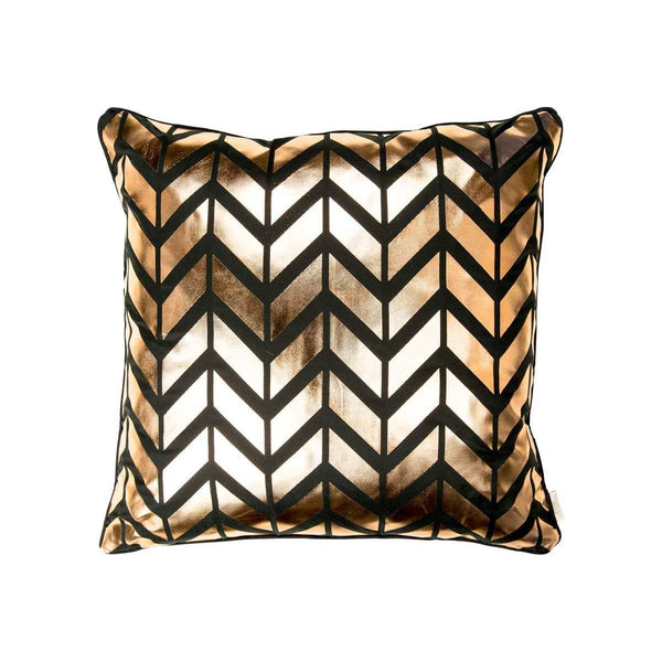 Adore Cushion- Front view of silk metallic cushion in black & copper with Herringbone print | Penelope Hope