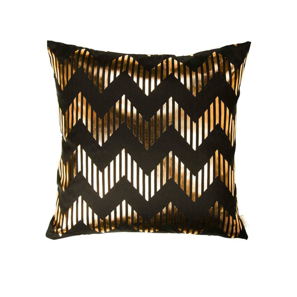 Dream Cushion- Front view of silk metallic cushion in black & Copper with Chevron print | Penelope Hope