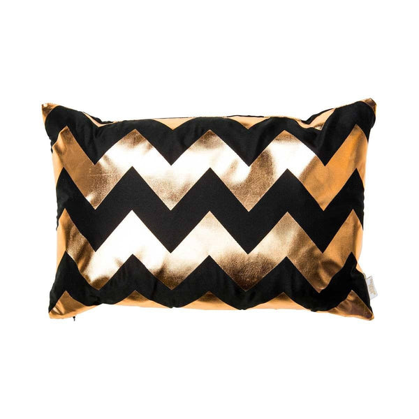 Happy Cushion- Silk Metallic rectangular cushion in Black & Copper with Chevron Design to Front | Penelope Hope