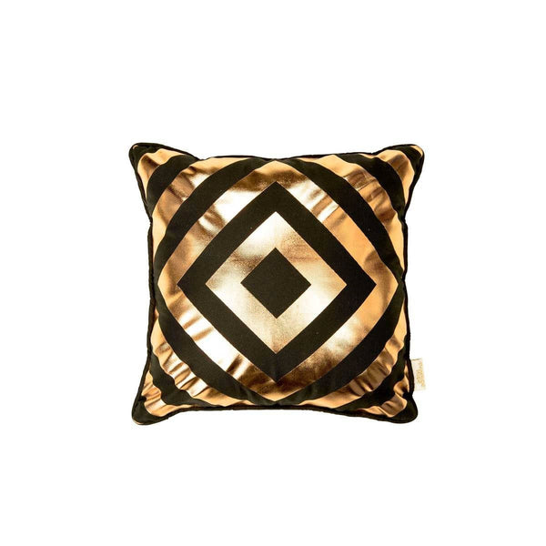Hope Cushion- Silk metallic cushion in black & copper with geometric diamond print (view of front) | Penelope Hope