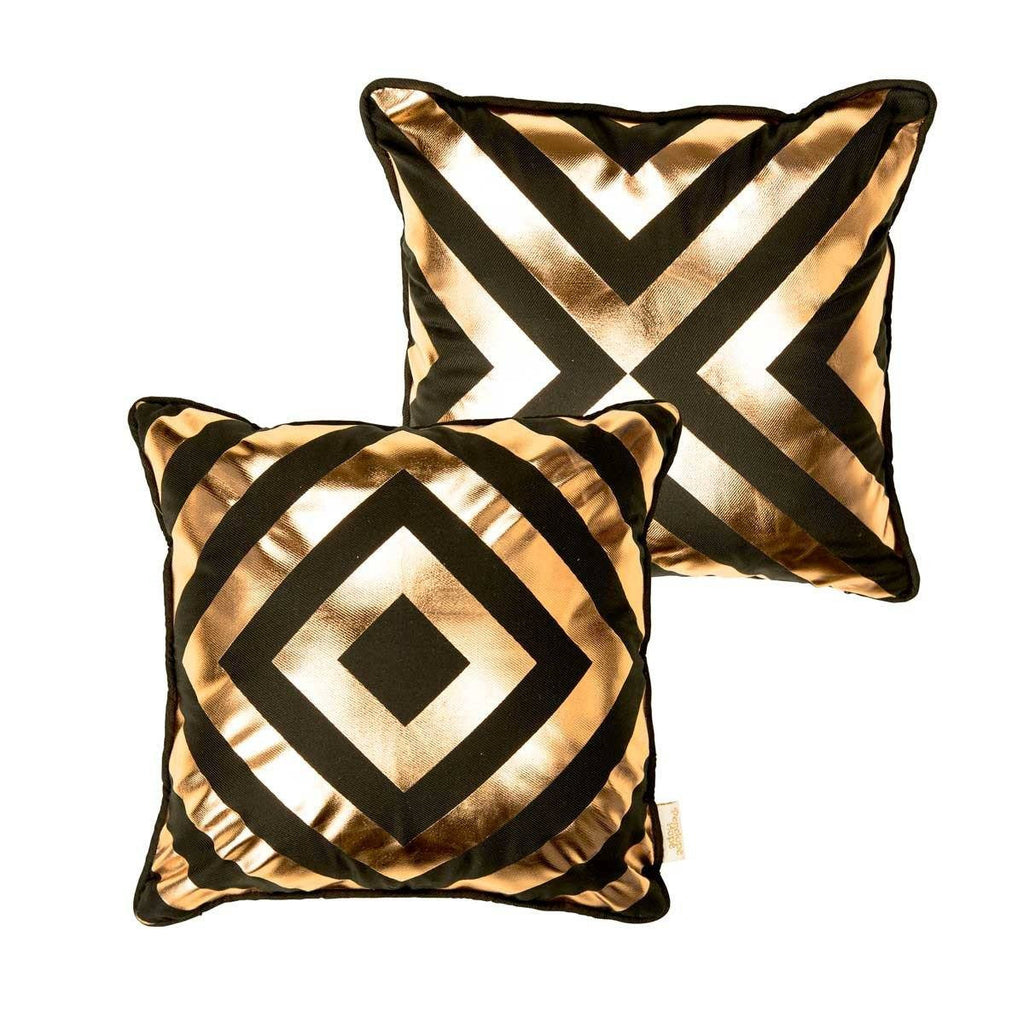 Hope Cushion- Silk metallic cushion in black & copper with geometric diamond print | Penelope Hope