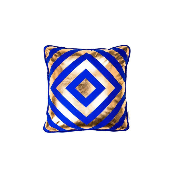Hope Cushion- Silk metallic cushion in blue & copper with geometric diamond print (view of front) | Penelope Hope