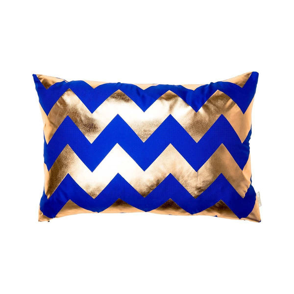 Happy Cushion- Silk Metallic rectangular cushion in Blue & Copper with Chevron Design to Front | Penelope Hope