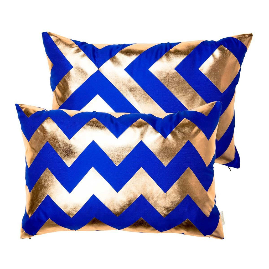 Happy Cushion- Silk Metallic rectangular cushion in Blue & Copper with Chevron Design & Geometric Reverse | Penelope Hope