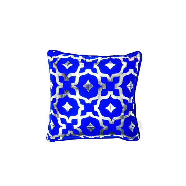 Mini Wish Cushion- Silk metallic cushion in blue & silver with moroccan print | Penelope Hope