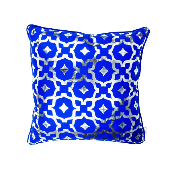 Wish Cushion- Silk metallic cushion in blue & silver with moroccan print | Penelope Hope