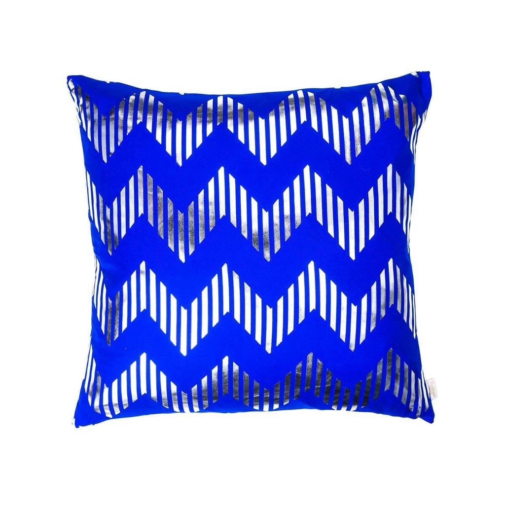 Dream Cushion- Front view of silk metallic cushion in blue & silver with Chevron print | Penelope Hope