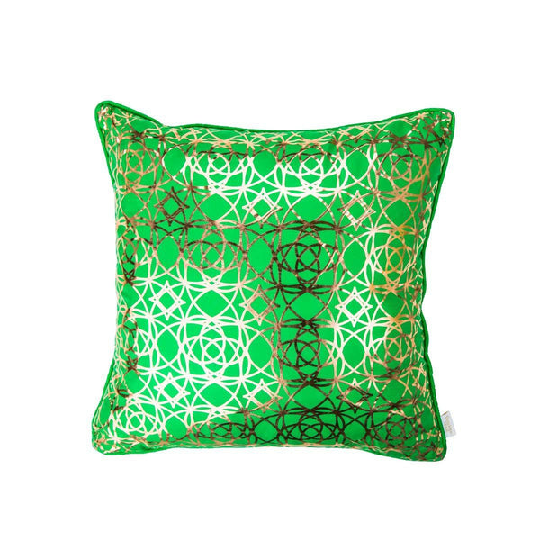Lust Cushion- Moroccan style metallic Silk Cushion in Green with Copper print | Penelope Hope