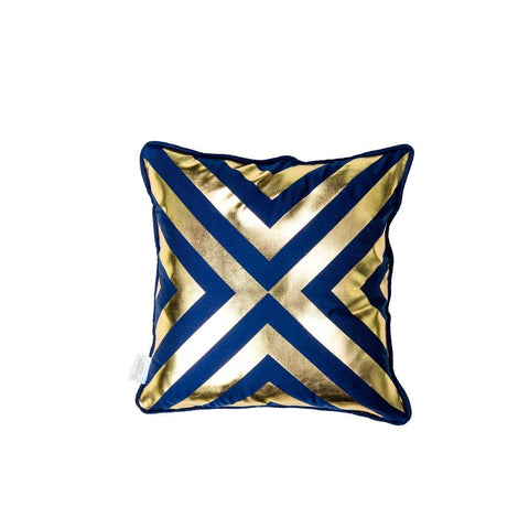 Hope Cushion- Silk metallic cushion in indigo & gold with geometric diamond print (view of back) | Penelope Hope