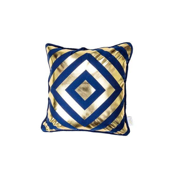 Hope Cushion- Silk metallic cushion in indigo & gold with geometric diamond print (view of front) | Penelope Hope