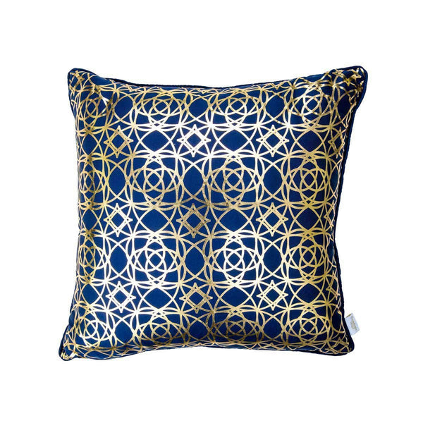 Lust Cushion- Moroccan style Silk Cushion in Indigo & Gold metallic print | Penelope Hope