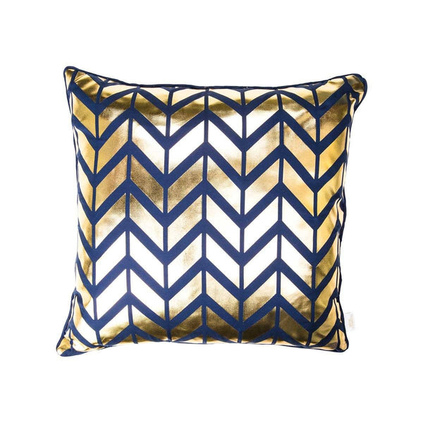 Adore Cushion- Front view of silk metallic cushion in indigo navy & gold with Herringbone print | Penelope Hope