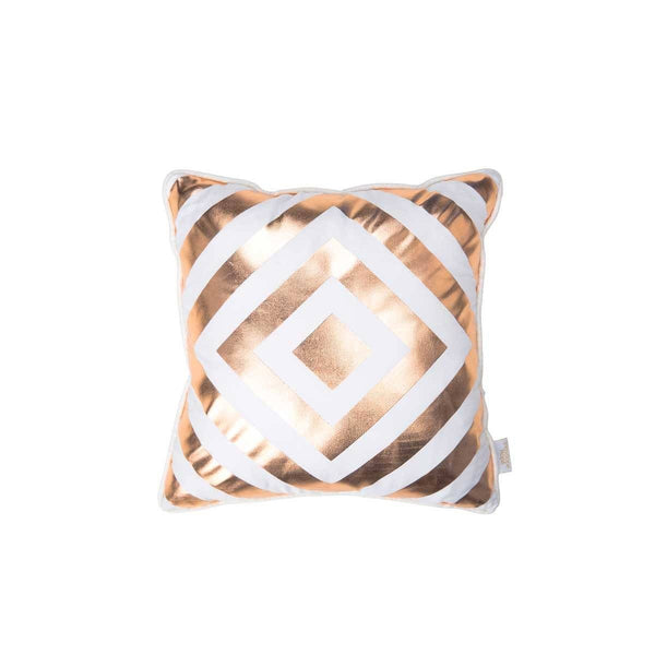 Hope Cushion- Silk metallic cushion in ivory & copper with geometric diamond print | Penelope Hope