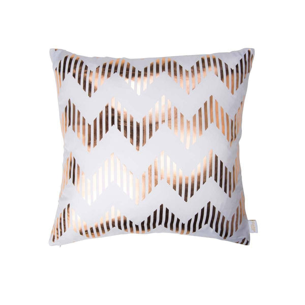 Dream Cushion- Front view of silk metallic cushion in ivory & copper with Chevron print | Penelope Hope