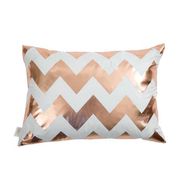 Happy Cushion- Silk Metallic rectangular cushion in Ivory & Copper with Chevron Design | Penelope Hope