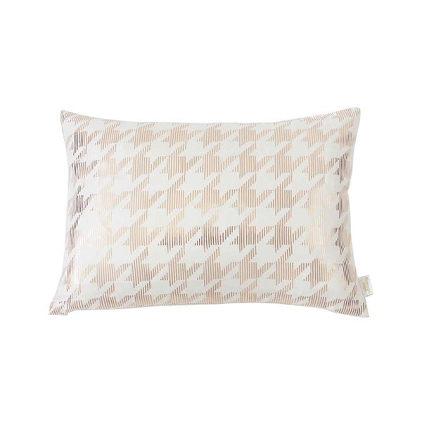 Lucky Cushion- Silk metallic rectangular cushion in Ivory & Copper with Dogtooth Design to front | Penelope Hope