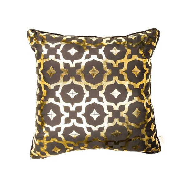 Wish Cushion- Silk metallic cushion in pewter grey & gold with moroccan print | Penelope Hope