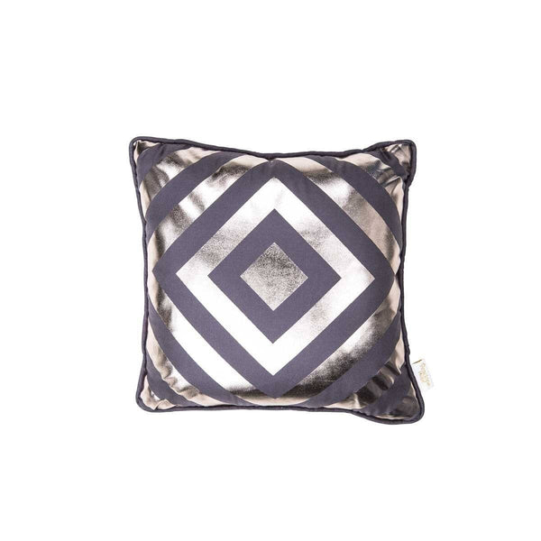 Hope Cushion- Silk metallic cushion in pewter & gunmetal with geometric diamond print (view of front) | Penelope Hope
