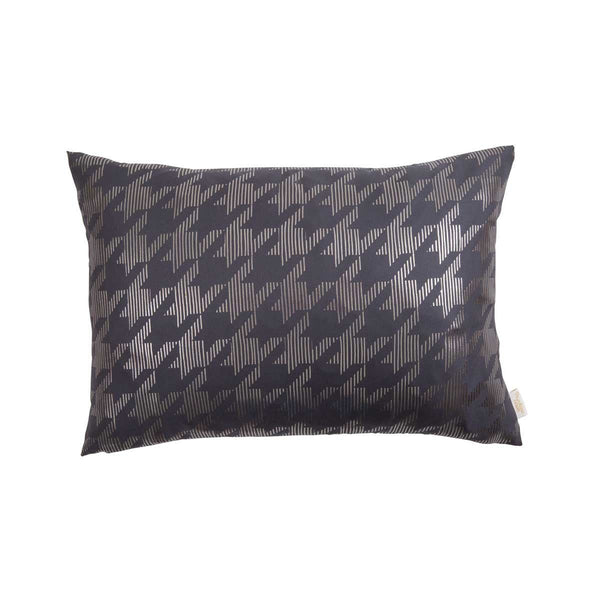 Lucky Cushion- Silk metallic rectangular cushion in Pewter & Gunmetal with Dogtooth Design to front | Penelope Hope