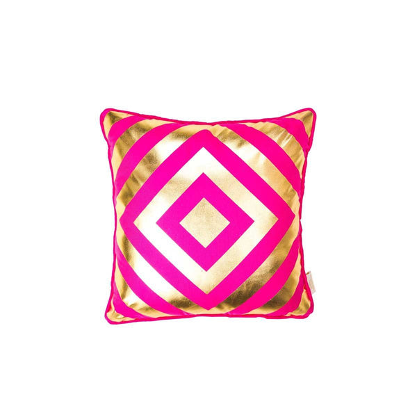 Hope Cushion- Silk metallic cushion in pink & gold with geometric diamond print (view of front) | Penelope Hope