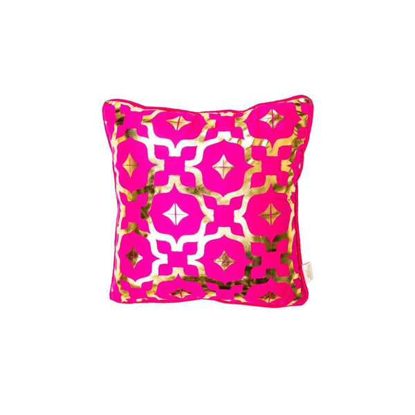 Mini Wish Cushion- Silk metallic cushion in pink & gold with moroccan print | Penelope Hope