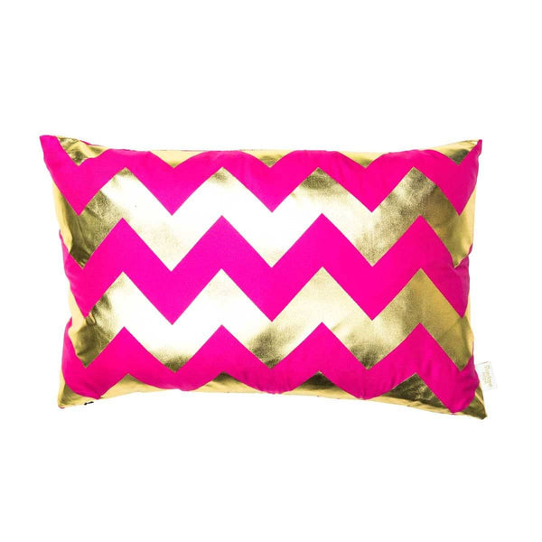 Happy Cushion- Silk Metallic rectangular cushion in Pink & Gold with Chevron Design to front | Penelope Hope