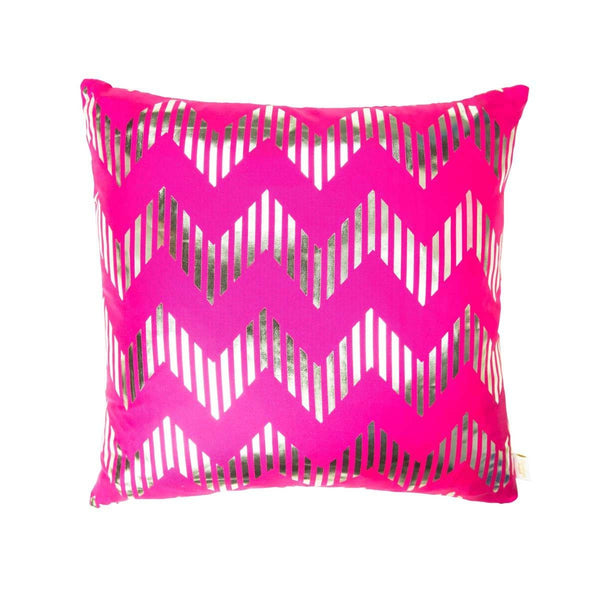 Dream Cushion- Front view of silk metallic cushion in pink & silver with Chevron print | Penelope Hope