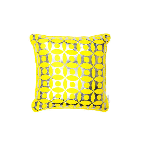 Covet Cushion- silk metallic cushion in yellow & gunmetal with moroccan circle print (view of front) | Penelope Hope