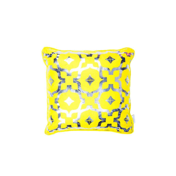 Mini Wish Cushion- Silk metallic cushion in yellow & gunmetal with moroccan print | Penelope Hope