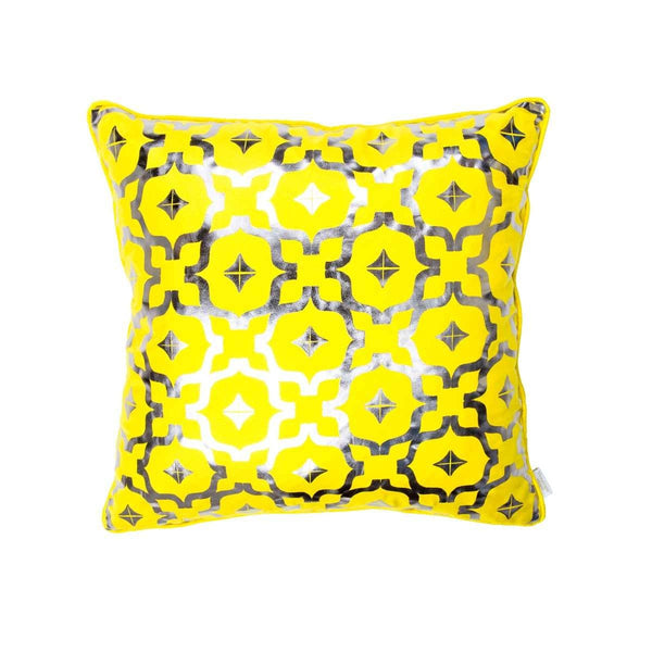 Wish Cushion- Silk metallic cushion in yellow & gunmetal with moroccan print | Penelope Hope