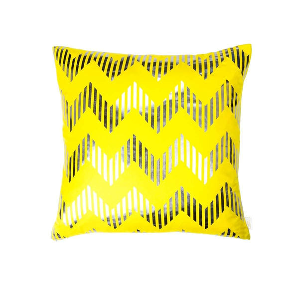 Dream Cushion- Front view of silk metallic cushion in yellow & gunmetal with Chevron print | Penelope Hope