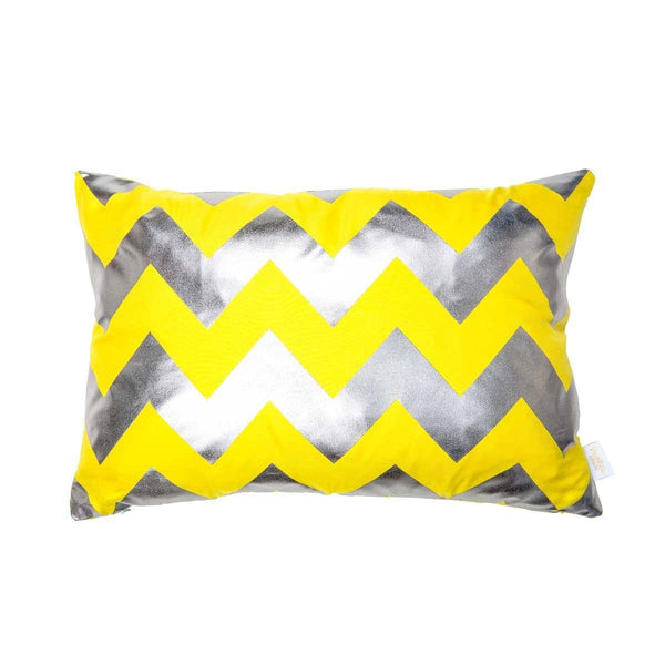 Happy Cushion- Silk Metallic rectangular cushion in Yellow & Gunmetal with Chevron Design to Front | Penelope Hope